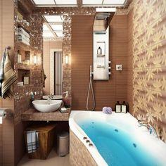 petite salle de bains avec baignoire et carrelage à feuilles automnales