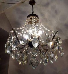 Exquisite Antique Brass Crystal Tent Chandelier C1900 Parisian Bedroom Decor, Bedroom Ideas, Living Room Inspiration, Antique Brass, Tent, Chandelier, Ceiling Lights, Lighting, Crystals