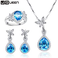 We love it and we know you also love it as well Big Promotion Wedding Jewelry Sets for Brides 925 Sterling Silver Blue Topaz Drop Earrings Ring Necklace Bridal Jewelry Set just only $45.50 with free shipping worldwide  #finejewelry Plese click on picture to see our special price for you
