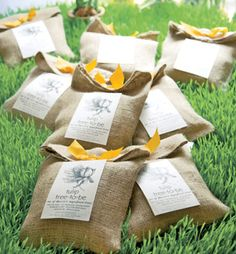 "Elegantly wrapped favors of tulip bulbs are the prefect gift for a garden party. ""Tulip tree-to-be,"" from Potting Shed Creations"