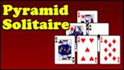 Pyramid Solitaire - Remove all the cards in the pyramid. Ks can be removed by itself, other cards can be removed by matching with another card that adds up to 13. A is 1, J is 11, and Q is 12. If you get stuck, click on the covered to deck to pick up a card.