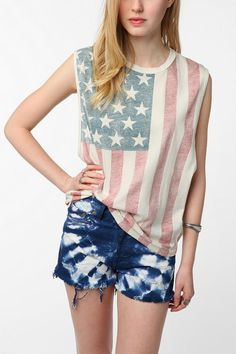 Truly Madly Deeply American Flag Muscle Tee  #UrbanOutfitters