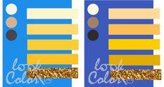 сочетание сине голубого и сине фиолетового с желтым