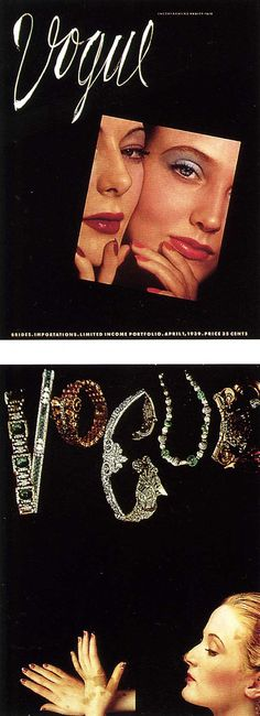 (top) Cover of Vogue, April 1939 issue. (bottom) Alternative Vogue cover design (not used).