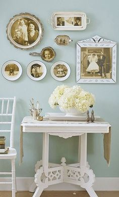 Using vintage plates as frames.....maybe Grandma's platter with her wedding photo?