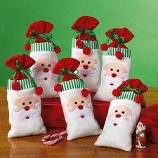 Plush Santa Drawstring Bags from Current on Catalog Spree, my personal digital mall. Felt Christmas Ornaments, Christmas Bags, Noel Christmas, Christmas Projects, Handmade Christmas, Christmas Stockings, Felt Crafts, Christmas Crafts, Christmas Decorations