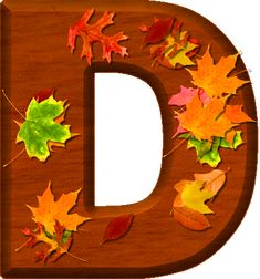 Presentation Alphabets: Cherry Wood Leaves Letter D
