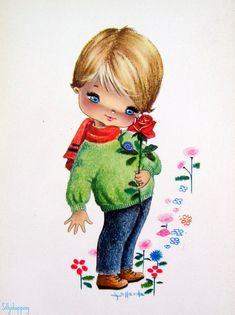 Vintage Big Eyed Boy Postcard by Gallarda