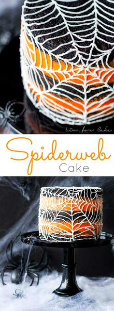 The BEST Halloween Party Recipes {Spooktacular Desserts, Drinks, Treats, Appetizers and More!} Halloween Party Recipes - Spiderweb Cake Dessert Recipe via Liv for Cake - Rich Black Cocoa Cake with an Orange Buttercream Frosting Halloween Desserts, Halloween Torte, Halloween Backen, Pasteles Halloween, Halloween Goodies, Halloween Food For Party, Halloween Cupcakes, Holidays Halloween, Halloween Treats