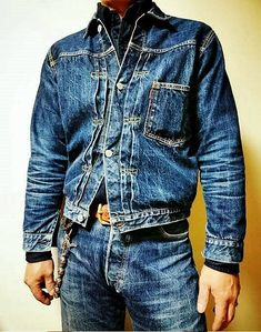 Raw Denim, Denim Jeans, Denim Jacket Men, Leather Jacket, Denim Fashion, Blue Fashion, Love Jeans, Style Me, Menswear