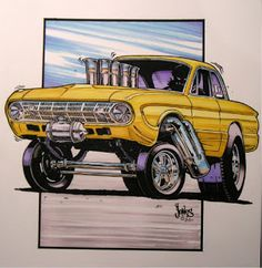 Ford Falcon I 1961 Faclon Gasser Rendering Ed Roth Art, Cool Car Drawings, Hot Rod Trucks, Toy Trucks, Cars Coloring Pages, Truck Art, Garage Art, Weird Cars, Car Pictures