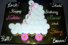 roller skate cupcake cake | cupcake cake. I printed a picture of a skate and shaped the cupcakes ...