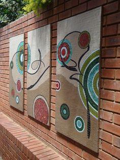 panels Mosaic Diy, Mosaic Wall, Mosaic Glass, Mosaic Tiles, Glass Wall Art, Canvas Wall Art, Outside Wall Art, Mosaic Art Projects, Mosaic Madness