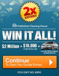 PCH 2 million for life I cynthia dehler wants sole ownership and full eligibilty for prize listed abovsweepstakes 2017
