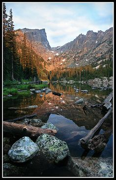 sunrise, Dream Lake, Rocky Mountain National Park, Colorado by bnzai9, via Flickr