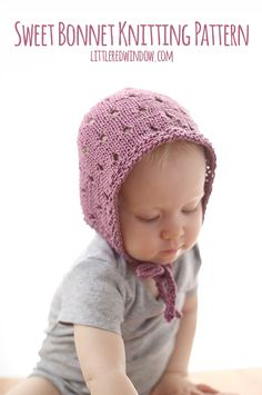 Knit this adorable bonnet for your little one with this free baby bonnet knitting pattern! Knit this adorable bonnet for your little one with this free baby bonnet knitting pattern! Kids Knitting Patterns, Baby Hat Knitting Pattern, Baby Hat Patterns, Knitting Yarn, Baby Knitting, Crochet Patterns, Free Knitting, Knitting Projects, Simple Knitting