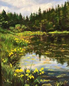 """Ice House Lake""  12x9 pastel by Donna Sires .  #pastelpainting #pastels #dailyart #instaart #oregonartist #fineart #originalart #donnasiresart #art #landscapes #landscapepainting #cascadelocks #icehouselake"