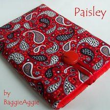 Paisley Red Kindle Sleeve, handmade in Wales.