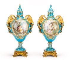 Pair Sevres Bleu Celeste Porcelain Lidded Urns