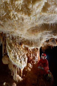 Grotte de la Toussaint (Gard) - Galerie avec disque et excentriques au plafond(SP-15-0417)