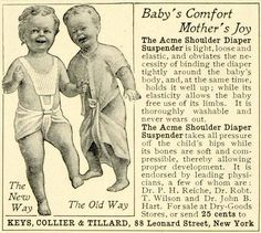 1902 Ad Acme Shoulder Diaper Suspender Babies Dr John Hart Keys Collier Tillard | eBay