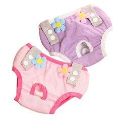 1Pcs New Female Pet Dog Puppy Sanitary Pant Short Lovely Flower Panty Diaper Underwear Dog Clothes Briefs Color Random Sent