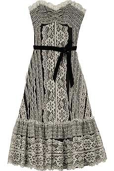 Anna Sui Strapless Lace Dress