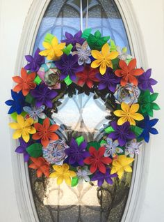 School teacher origami paper wreath