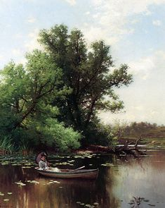 So glad I found this painter... girls in bustle dresses in row boats... ahh...  Alfred Thompson Bricher: Drifting