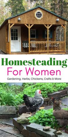 Homesteading For Women, talking about herb gardening, living the simple life like my Grandma used to live, crafting and taking care of chickens, even off grid tiny home tour.