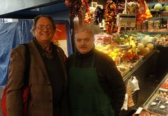 With Eduard Soley Castellvi, owner of Fruits Exòtics Tropicals Soley Roser, one of top fruit and vegetable stalls in La Boquería market in Barcelona, Jan 29. 2015. Photo by Juli Soler©2015 / gerrydawes@aol.com YouTube / Facebook / Twitter / Pinterest. Sony RX100 III 20.1 MP / Zeiss 24-70mm f1.8-2.8. — at Mercat de La Boqueria.