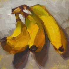 Karen Werner  Fine Art: Backlit Nanners  -a still life oil painting of ban...