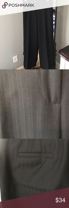 Black pinstriped slacks Ann Taylor black on black striped pant with cuffed leg Ann Taylor Pants
