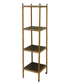 Early 19th Century English Regency Caned Etagere with Painted Wood, Chinoiserie Bamboo  On sale at Hollyhock now!