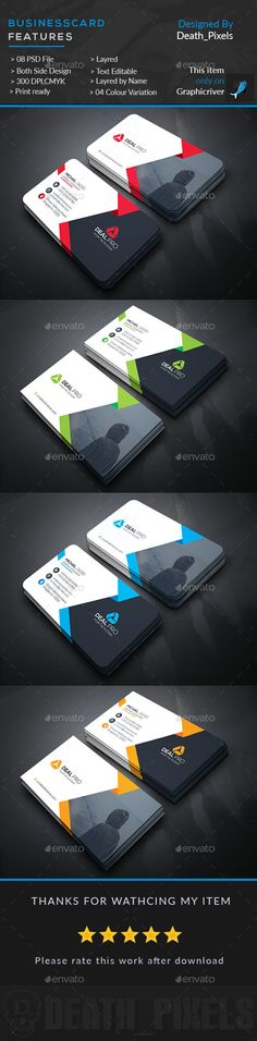 Corporate Business Card  — PSD Template #landscape #web • Download ➝ https://graphicriver.net/item/corporate-business-card/18206269?ref=pxcr