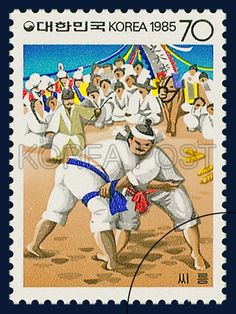 Postage Stamps for Folkways Series(Ⅱ), Wrestling, traditional culture, white, yellow, 1985 08 20, 민속시리즈(두번째묶음), 1985년 08월 20일, 1393, 씨름, postage 우표