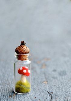 Red Toadstool Mushroom Acorn CapTerrarium Display (arfism) Tags: mushroom shop s… – Craft Mushroom Crafts, Felt Mushroom, Mushroom Art, Wet Felting, Needle Felting, Acorn Crafts, Rainy Day Crafts, Crafts To Make And Sell, Bottles And Jars