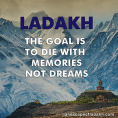 Travel Quote : The Goal is to die with memories, dreams Explore untold destinations of leh ladakh with landscape of ladakh Ladakh India, Leh Ladakh, Places To Travel, Travel Destinations, Choices Quotes, Bike Quotes, Cute Love Images, Best Travel Quotes, Beautiful Places To Visit