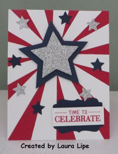 handmade of July card . sunburst die cut with a large star in the center . Pretty Cards, Cute Cards, Holiday Cards, Christmas Cards, Military Cards, Star Cards, Patriotic Crafts, Stamping Up Cards, Kids Cards