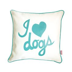 I Love Dogs Pillow Blue//