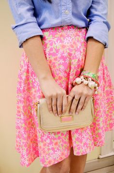 A bold floral skirt with bright accessories is perfect for #spring!