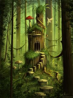 Jeremiah Morelli (MorJer's Art.de) – Forest Castle – Pretty whimsical art ♥ Jeremiah Morelli (MorJer's Art. Fantasy Places, Fantasy World, Fantasy Forest, Forest Fairy, Fantasy Trees, Fantasy Fairies, Magic Forest, Fantasy Landscape, Fairy Art