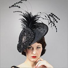 • Fascinator  • Design by Louise Green   • Fabric: Buntal, Beaded Applique, Rouched Fabric, Feathers   • Colors: Black