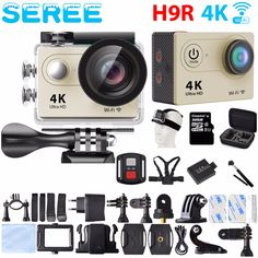 "Seree 4K Camera 2"" LCD Screen Wifi Action Camera 4X Zoom 16MP Sport Camera Waterproof 30M go pro Camera with Remote Control"