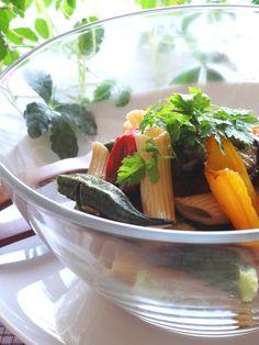 グリル野菜とペンネのサラダ。 #recipes