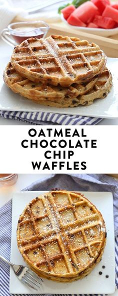 Recipes Breakfast Fast Sweet and crispy Oatmeal Chocolate Chip Waffles for the ultimate weekend brunch! These gluten-free and healthy waffles made from wholesome ingredients like oat flour and bananas will become your new go-to breakfast recipe. Banana Waffles, Chocolate Waffles, Breakfast Waffles, Oatmeal Waffles, Pancakes And Waffles, Chocolate Chip Oatmeal, Sweet Breakfast, Breakfast Recipes, Chocolate Lava