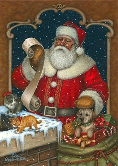 by Elizabeth Goodrick-Dillon Very Merry Christmas, Father Christmas, Santa Christmas, All Things Christmas, Christmas Time, Christmas Mantles, Xmas, Christmas Villages, Silver Christmas