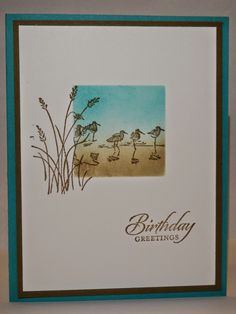 Just when you thought that I was done with the Wetlands stamp set, here I go again. Nope, not done just yet. I decided that I love. Masculine Birthday Cards, Masculine Cards, Wetlands Stampin Up, Bird Cards, Men's Cards, Greeting Cards, Cards Diy, Feather Cards, Nautical Cards