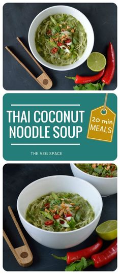 Thai Coconut Noodle Soup | The Veg Space - a 20-minute vegan & vegetarian weeknight supper
