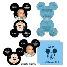 Invitatii botez Mickey Mouse Constanta - personalizate cu poza bebe. 0728955745